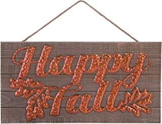 One Holiday Way Hammered Copper Rustic Wood and Metal Fall Sign – Hanging Harvest Decoration (Happy Fall)