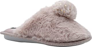 kensie Girls' Big Kid Slip On Plush Fluffy Faux Fur House Slippers with Sparkly Pom Pom, Cute Warm Comfortable Shoes for H...