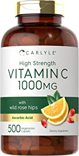 High Strength Vitamin C 1000mg | 500 Caplets | Ascorbic Acid with Wild Rose Hips | Non-GMO and Gluten Free Supplement| by ...