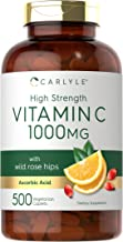 High Strength Vitamin C 1000mg   500 Caplets   Ascorbic Acid with Wild Rose Hips   Non-GMO and Gluten Free   by Carlyle