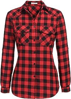 Genhoo Women's Flannel Shirt Roll Up Long Sleeve Plaid Collared Button Down Boyfriend Casual Shirt Top