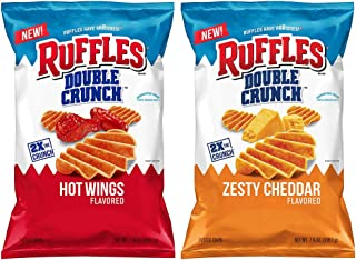 Ruffles Ridged Double Crunch Potato Chips 7.75 Oz Pack Of 2! 2 Flavors, Hot Wing and Zesty Cheddar! Crispy and Crunchy Potato Chips!