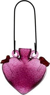 Kitras Heart Hummingbird Feeder Glass Ornament, Pink
