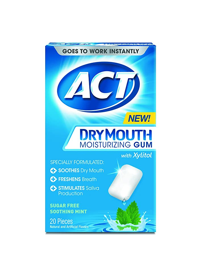 ACT Dry Mouth Moisturizing Gum, Soothing Mint, Sugar Free, 20 Count (Pack of 2)