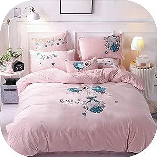 Fleece Velvet Elegant Bedding Set Warm Flannel Embroidery Duvet Cover Bed Sheet Pillowcases Queen King Size 4Pc,DM11,Small Cushion x1