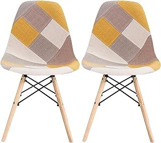 LOVEMYHOUSE Sillas de Comedor de Patchwork Juego de 2 sillas Amarillas de Ocio con Asiento Suave y Patas de Haya de Respal...
