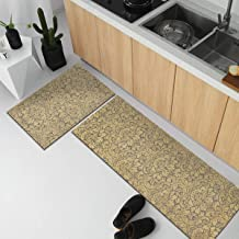 MAYSHINE Natural Rubber Backing Kitchen Rugs Set Doormat Runner Anti-Fatigue Comfort Mat Pattern6-17x27.5+17x47 inch
