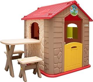 LittleTom Casa de Juegos para niños y niñas Incl 1 Mesa 2 taburetes Casita de plástico
