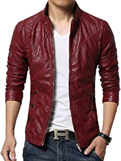 Men's Cool Stylish Slim Fit Stand Collar Lightweight Bomber Faux Leather Jacket Coat