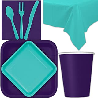 Disposable Party Supplies for 28 Guests - Deep Purple and Caribbean Teal - Square Dinner Plates, Square Dessert Plates, Cups, Lunch Napkins, Cutlery, and Tablecloths: Premium Quality Tableware Set