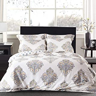 JELLYMONI Cream White 100% Egyptian Cotton Duvet Cover Set,3 Pieces Boho Damascus Pattern Floral Print Bedding Set With Double Zipper Closure,Reversible Duvet Cover King Size(104×90Inch)(No Comforter)