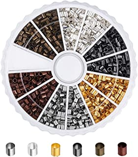Pandahall 1Box/1500pcs 6 Colors Brass Tube Crimp Beads Spacer Cord Lined Cover Column Clamp Tips Mixed Color 2x2mm Antique Bronze & Red Copper & Golden & Silver & Platinum & Black
