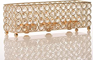 VINCIGANT Gold Crystal Tealight Candle Holders Tray for Dinning Room Coffee Table Decorative Centerpieces,Gifts for Anniversary/Mothers Day
