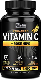 Vitamin C 1000mg with Rosehips (120 Capsules | 1000mg) Pure Vitamin C Capsules - Ascorbic Acid + Rose Hips for Powerful Im...