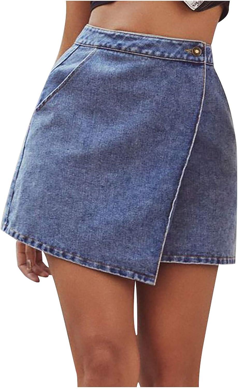 Naladoo Womens Girls Casual Mini A-line Skirt,High Waisted Short Skirts,Destroyed Frayed Raw Hem Jean Skirts
