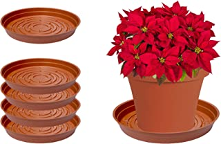 Curtis Wagner Plastics Plant Tray Drip Pan Saucers (5-Pack) - Terracotta, Round (Diameter = 8