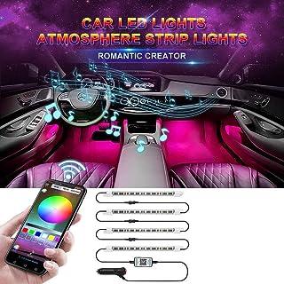 Car LED Strip Light, 4pcs 48 LED App Control Interior Car Lights, Brighter LED Lamps, Infinite DIY Colors, Music Sync Func...