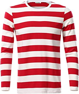 VETIOR Mens Basic Striped Long Sleeve Casual Cotton T-Shirt