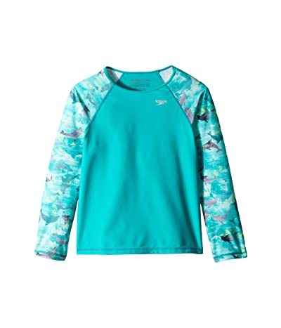 Speedo Kids Long Sleeve Print Sleeve Rashguard (Big Kids) (New Turquoise) Girl