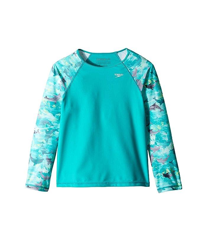 Speedo Kids  Long Sleeve Print Sleeve Rashguard (Big Kids) (New Turquoise) Girls Swimwear