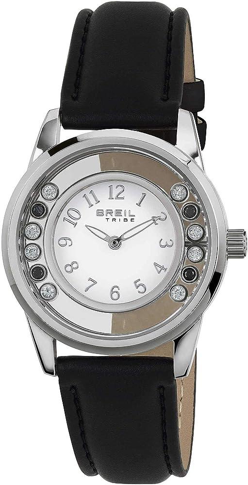 Breil orologio donna  con cassa in acciaio quadrante con pietre colorate e cinturino in ecopelle EW0369