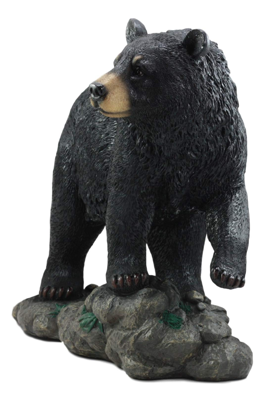 "7/"" Tall Romantic Black Bear Couple In Courtship By Wooden Log Figurine Statue"