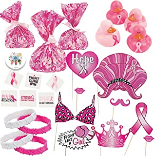 Breast Cancer Awareness Goodie Bag Fillers and Party Favors Perfect for Giveaways and Charity Events For 12 With Pink Ribbon Bracelets, Glitter Tattoos, Rubber Ducks, Cellophane Bags, Fun Photo Props and Pin