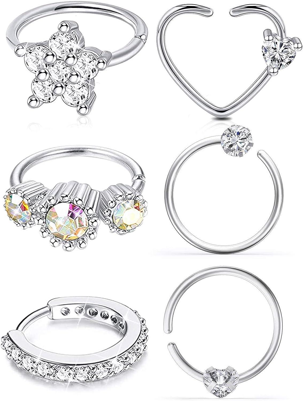 Ocptiy 20G Stainless Steel Cubic Zirconia Nose Ring Hoop Piercings Jewelry for Women Men 6Pcs