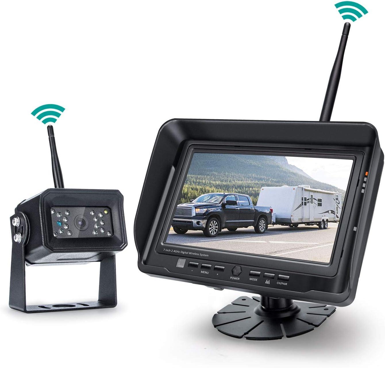 Digital Wireless Backup Camera System, No Interference, IP69k Waterproof Wireless Rear View Camera, 7'' Display Wireless Reverse Monitor for RV/Truck/Trailer/Bus/Motorhome/5th Wheel/Pickup/Van