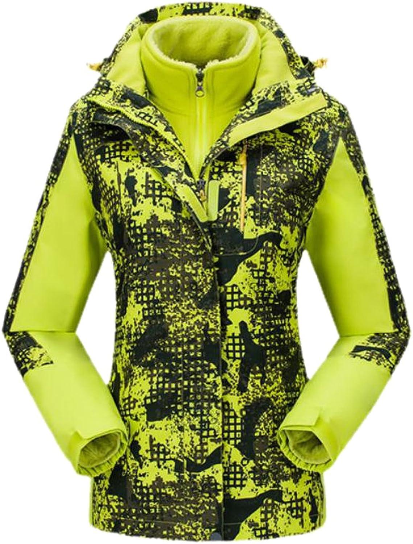 Honey GD Womens FullZip Warm Floral Printed Jacket Hoodie Ski Jacket