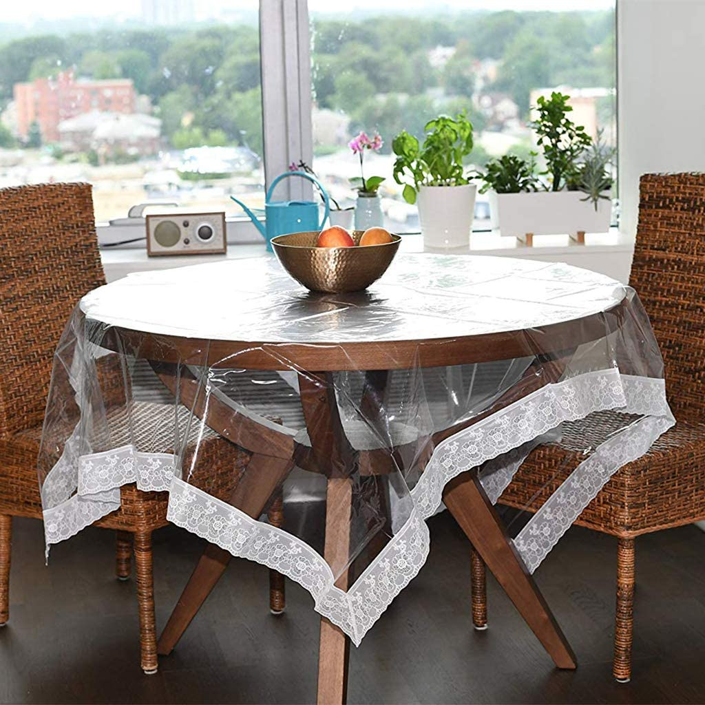 Tablecloth Clear Plastic, waterproof Pvc Table Protector Table Cover With  Lace For Rectangular Square Round Dining Table transparent Diameter9cm