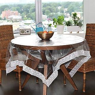 Nappe en Plastique Transparent,imperméable PVC Couverture De Table Protectrice De Table avec La Dentelle pour La Table Ron...