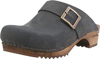Sanita Urban Open Clog | Original handgjord | Läderträträträträträträslöjor för kvinnor | Mörkblå