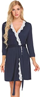 Women's Labor/Delivery/Nursing Robe Maternity Sleepwear, Hospital Nightgown Pregnancy Sleepshirts for Breastfeeding