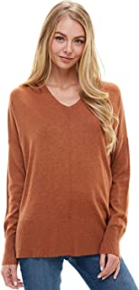 Alexander + David Women's Loose V-Neck Sweater Hoodie Knit Top - Seam Detail Boxy Pullover