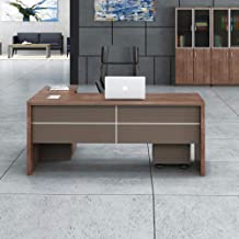 Danube Home Leanard Office Table, White/Walnut - 160 x 80 x 75 cm