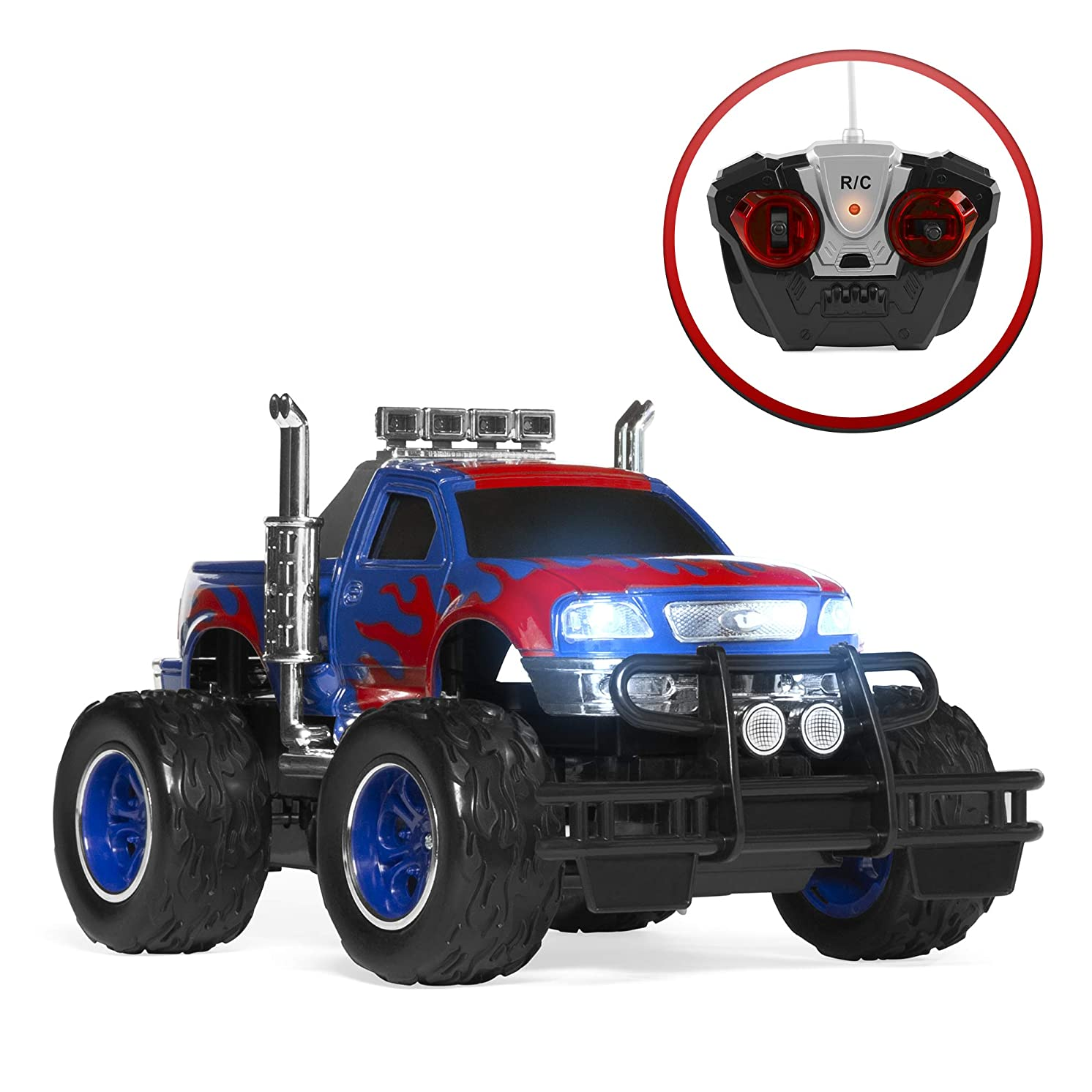 Best Choice Products 1/16 Scale Kids RC Monster Truck with Headlights and Climbing Tires, Blue/Red