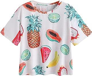 Women's Allover Fruit Print Top Short Sleeve Cute T-Shirt