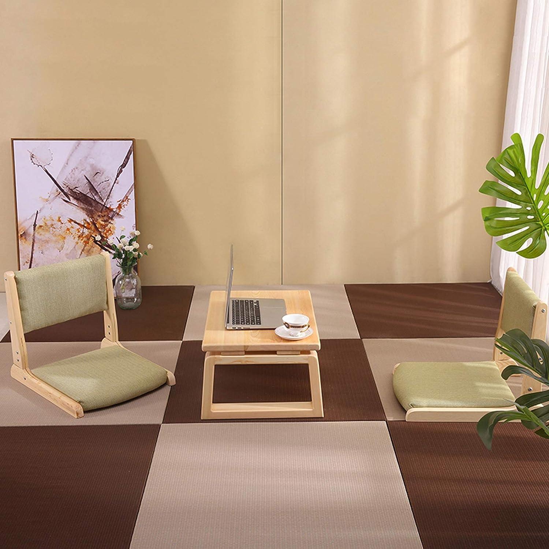YKQ Tatami Tabouret Pliable pin Matériau Lin Wrap Mousse à mémoire Tabouret Bas Tabouret Legless for de Style Japonais (Color : Black) White