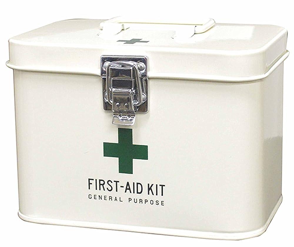 何もない果てしない換気パルマート メディコ ファーストエイドボックス S アイボリー W16.5×D11×H12cm 救急箱 コンパクトサイズ ブリキ 161363
