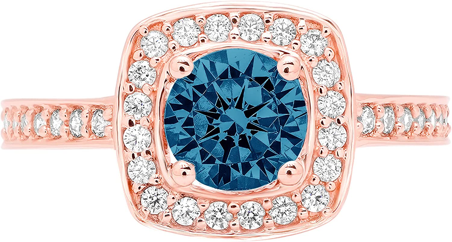 Clara Pucci 1.46 Brilliant Round Cut Halo Solitaire Stunning Genuine Flawless Natural London Blue Topaz Gem Designer Modern Accent Ring Solid 18K Rose Gold