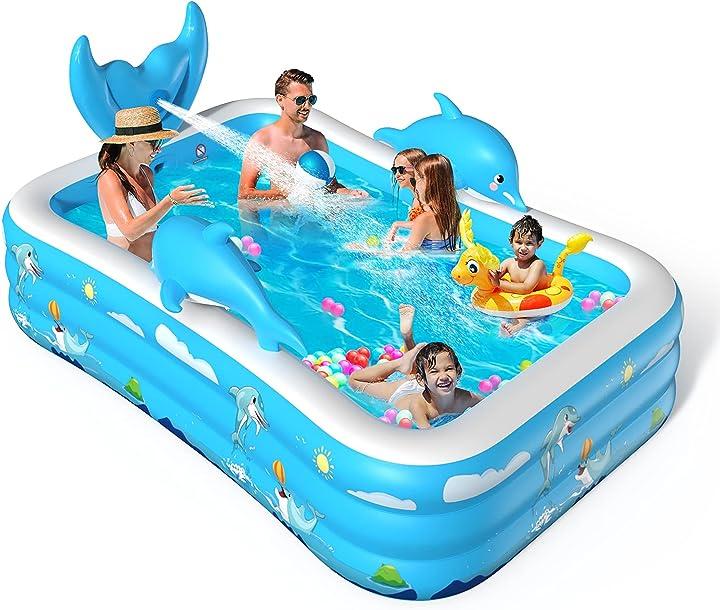 Piscina bambini piscina gonfiabile bambini 250x180x55cm piscina grande con 3 camera d`aria individuali voxon B08R5LLP3P
