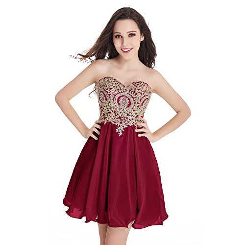 Burgundy Prom Dress with Gold Appliques: Amazon.com