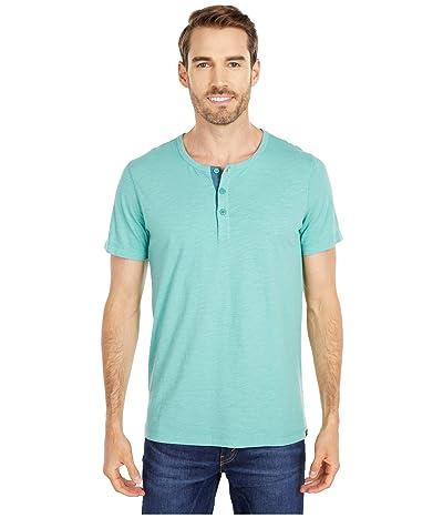 The Normal Brand Slub Short Sleeve Henley (Blue Surf) Men