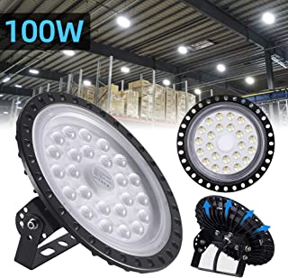 100W UFO LED High Bay Light lamp Factory Warehouse Industrial Lighting 10000 Lumen 6000-6500K IP65 Warehouse LED Lights- High Bay LED Lights- Commercial Bay Lighting for Garage Factory Workshop Gym