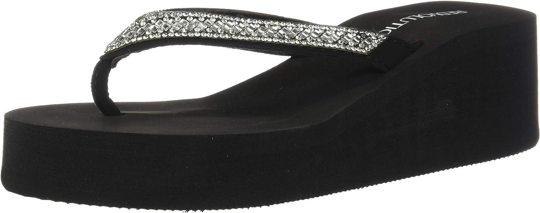 New Women's Rhinestone Sandals Platform T-Strap Jewel Sandals High Wedge Flip Flops
