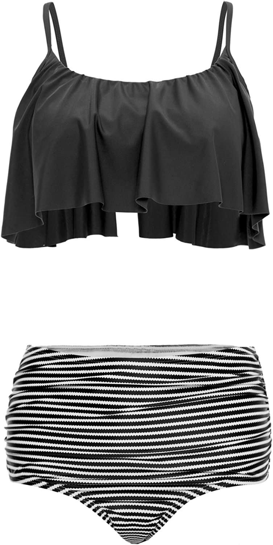 BeautyIn Women's Ruffle Bikini Sets Striped Ruched High Waist Two Piece Swimsuits
