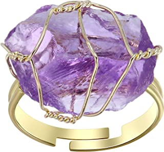 CrystalTears Raw Healing Crystal Ring Copper Wire Wrapped Irregular Crystal Gemstone Adjustalble Ring Jewelry for Women