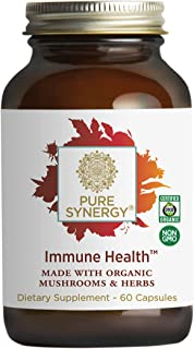 Pure Synergy Immune Health (60 Capsules) Daily Immune Supplement w/ Mushrooms, Astragalus, Fucoidan, Beta-1,3-Glucan