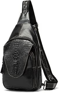 Handmade Genuine Leather Crossbody Sling Bag Crocodile Embossing Chest Bag Waterproof Shoulder Bag Black